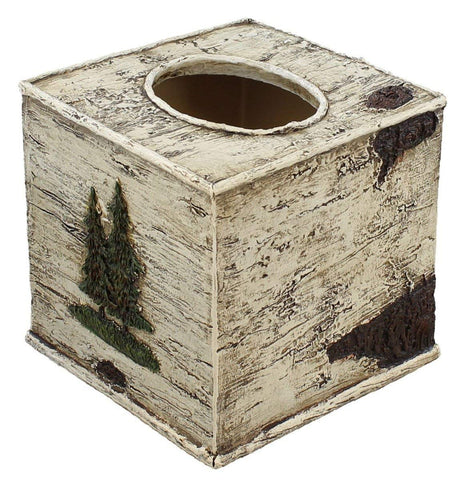 Black Bear Faux Birch Bark Tissue Box Cover - SQUARE