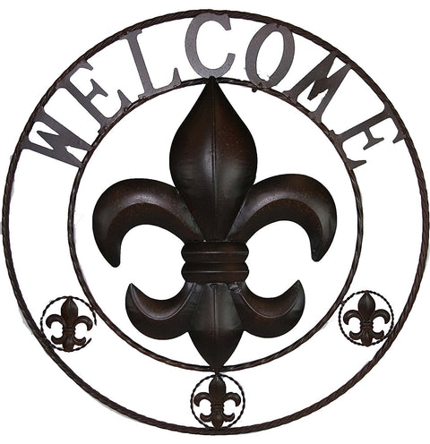 Metal Fleur De Lis Welcome Sign