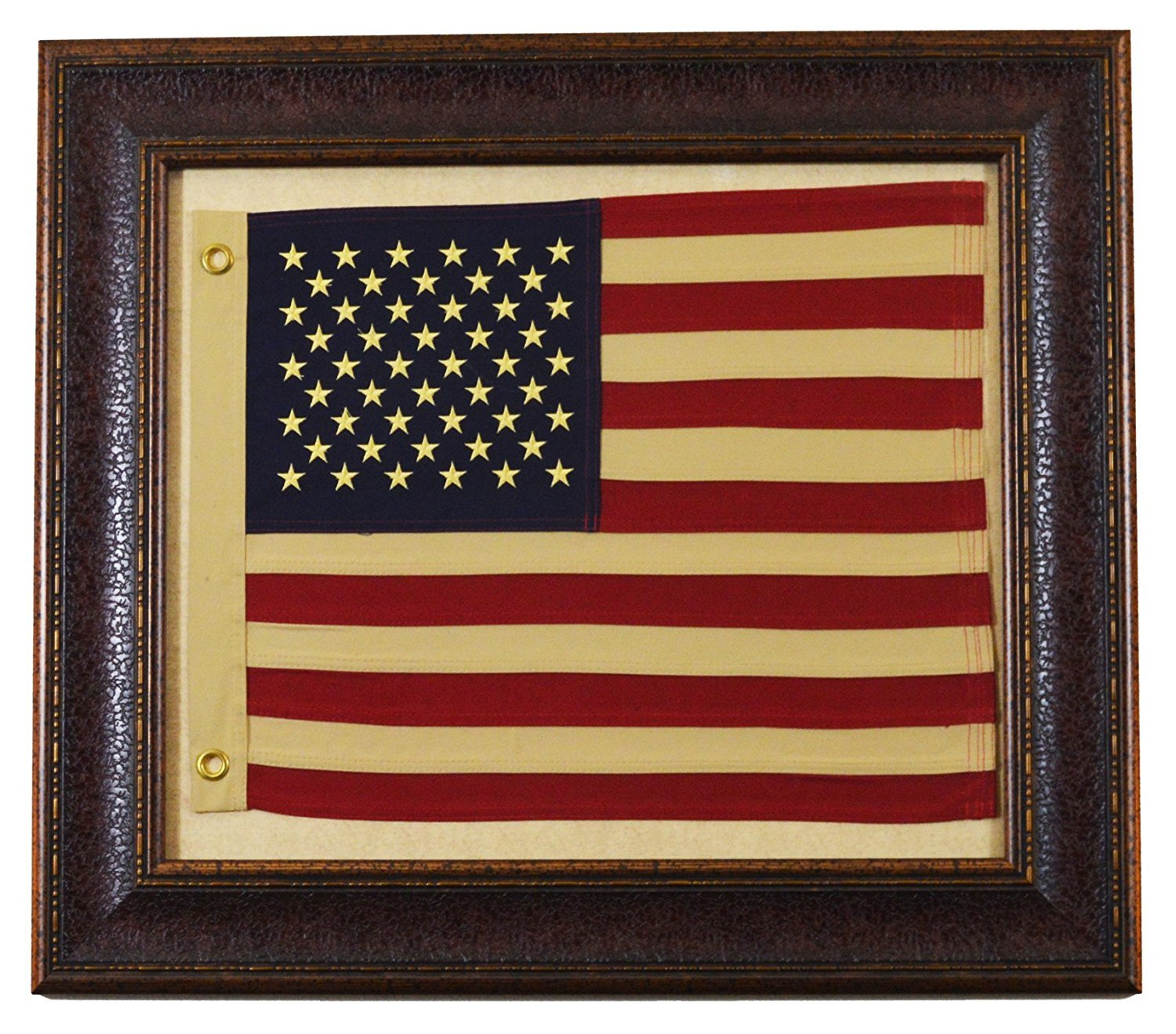 Framed American USA Flag with Aged Look - Rustic Western Wall Art Decor