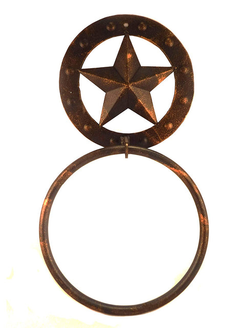 Rustic Metal Star Towel Ring