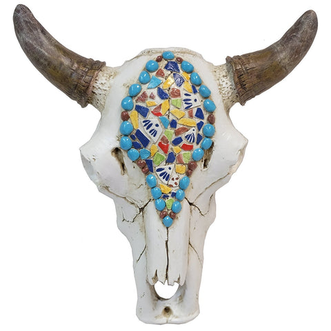 Multi color stones bull skull