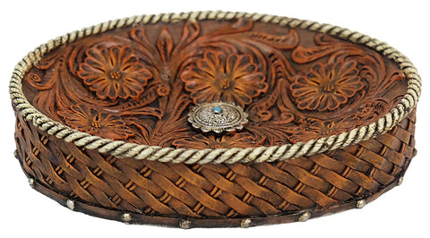 Faux Leather Tooled Flower Soap Dish Or Coin/Change Dish - Bathroom Accessory