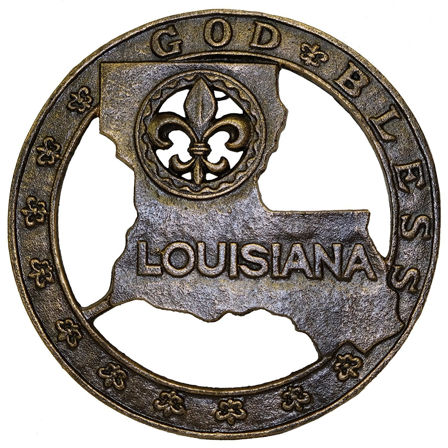 God Bless Louisiana Map Cast Iron Trivet - Counter Top or Wall Art