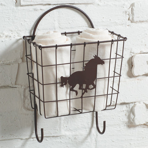 Running Horse Metal Wire Basket With Hooks - Wall Hanging