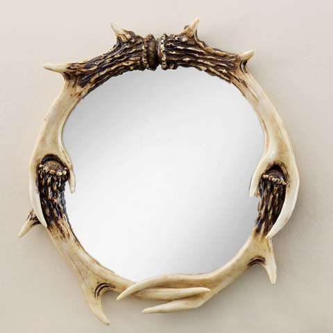 Rustic, Country Faux Deer Antler Wall Mirror - Round