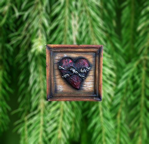 Passionate Heart Framed Barbwire Ornament