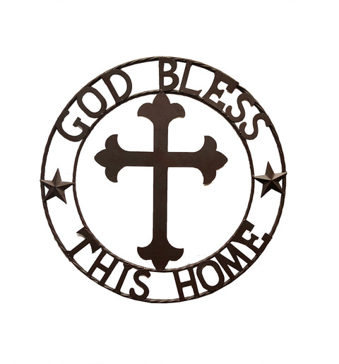 "Metal Fleur De Lis Cross ""God Bless This Home"" Wall Circle"