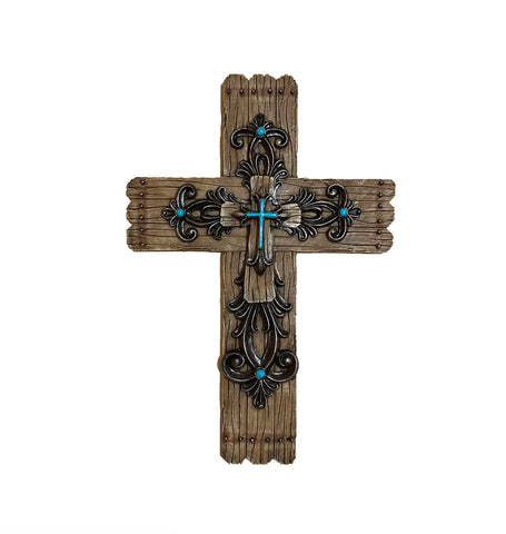 Fleur De Lis Design Layered Turquoise Cross