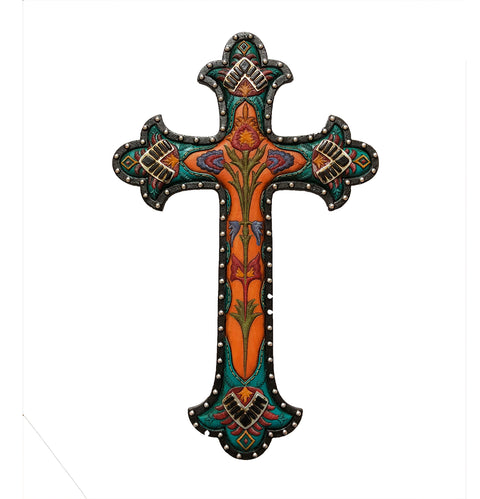 Art Deco Faux Leather Floral Design Wall Cross