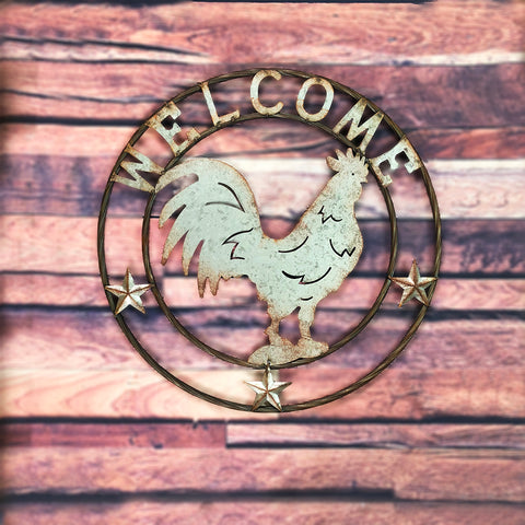 Galvanized Country Rooster Welcome Circle Wall Art