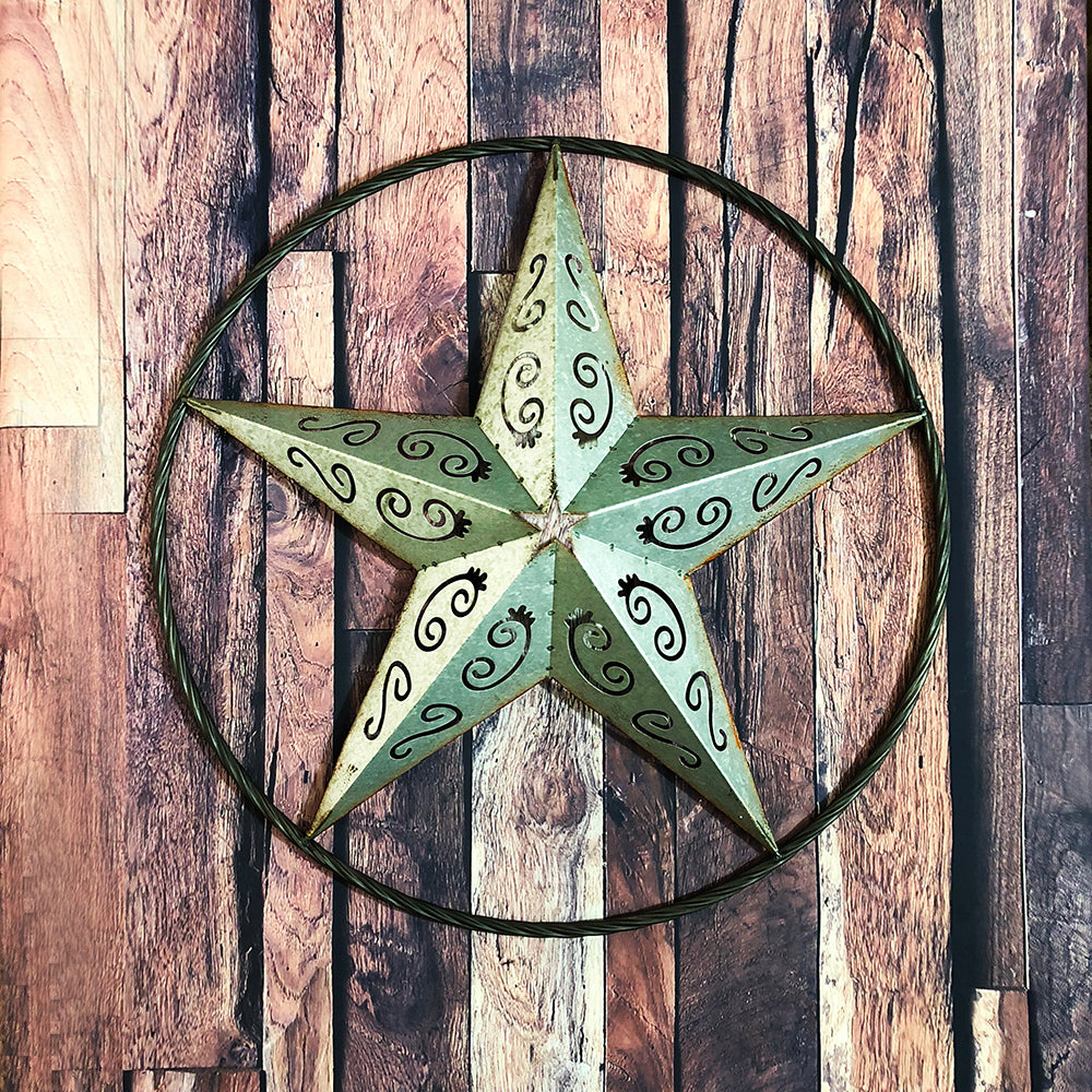 Galvanized Metal Star Scrolls Wall Art