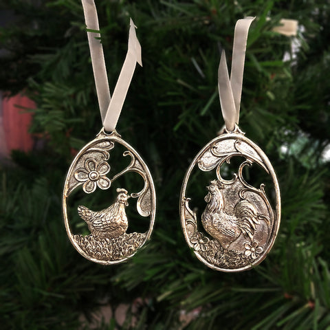Country Hen & Rooster Ornaments - Chicken Ornament