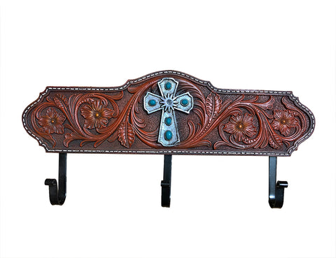 Faux Tooled Leather Flower & Cross Hooks - Wall Mount