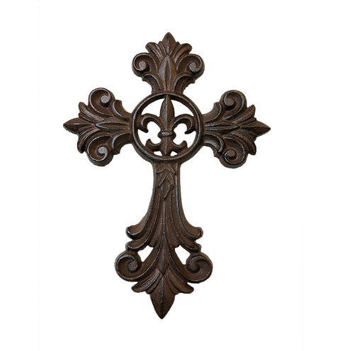 Cast Iron Fleur De Lis Wall Hanging Cross - Rustic Deep Brown Color