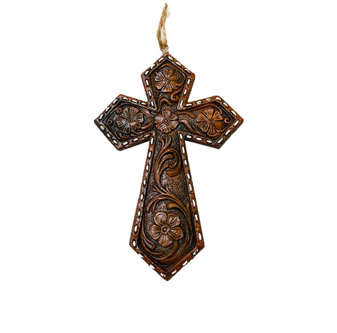 Faux Tooled Flower Cross Ornament