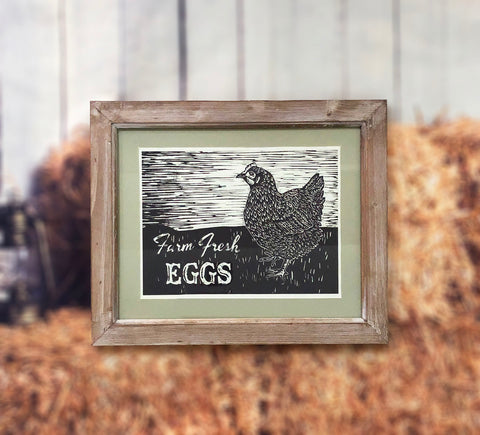"""Fresh Farm Eggs"" Framed Wall Art"