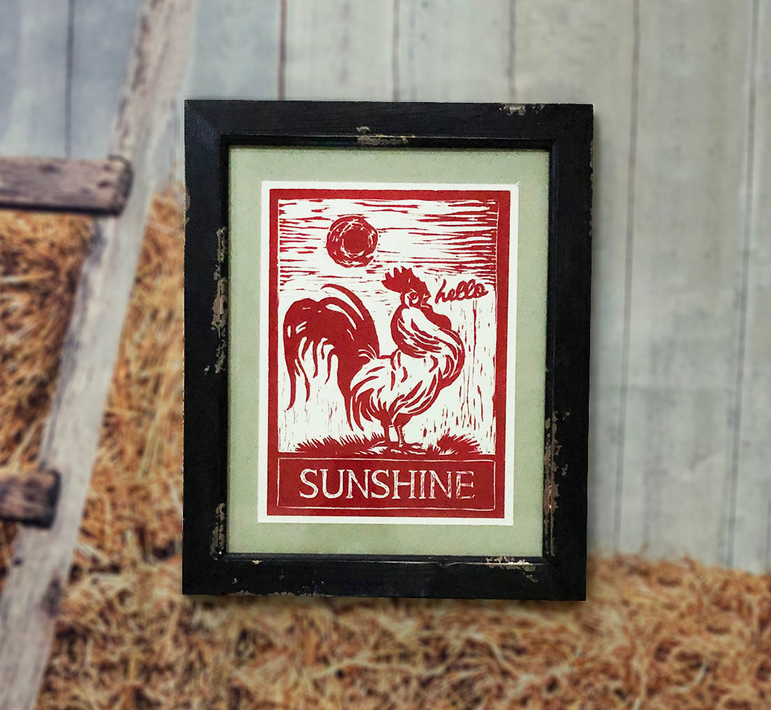 """Hello Sunshine"" Country Rooster Framed Wall Art"