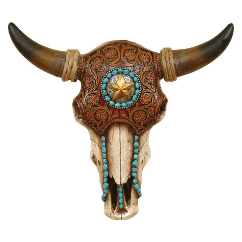 Faux Tooled Leather Bull Skull - Wall Art