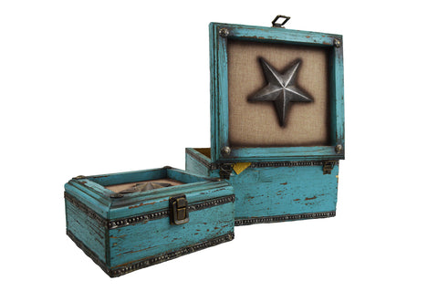 Rustic Distressed Turquoise Wooden Decorative Boxes With Star - Set Of Two