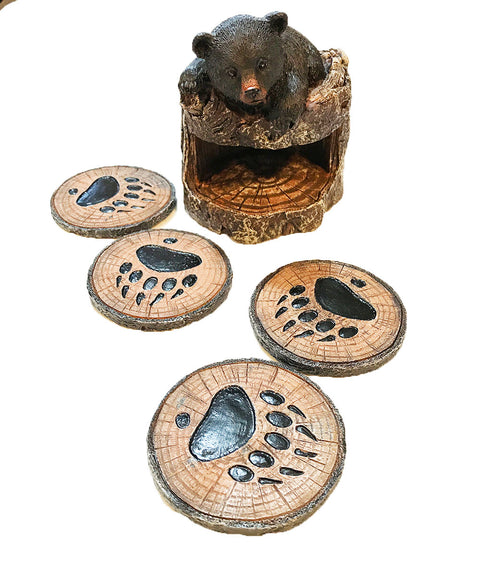 Black Bear On Tree Trunk Coaster - 5 Piece Set - Four Coasters Plus Holder