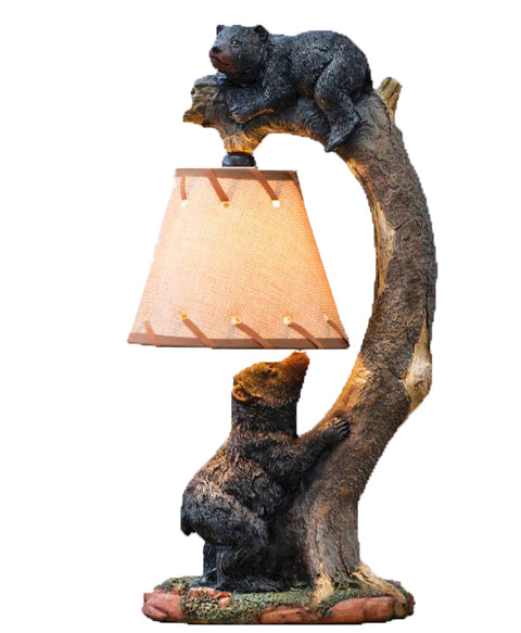 Tree Climbing Bear Cubs Accent Lamp
