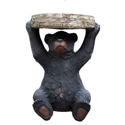 Black Bear Holding Wood Block End Table - Decorating Side Table