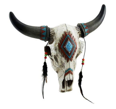 Rustic Southwest Bull Skull With Feathers, Beads & Faux Turquoise Stone - Wall Hanging