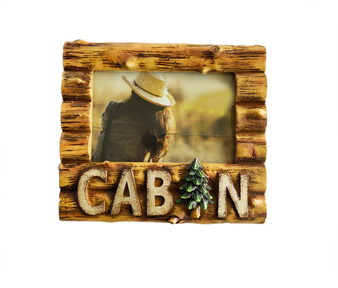 "Log ""Cabin"" & Pine Tree Photo Picture Frame - 4"" x 6"""