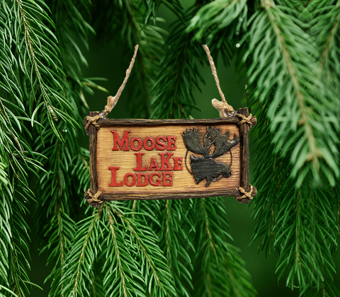 """Moose, Lake, Lodge"" Ornament"