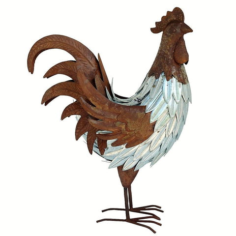 Farm Yard Metal Rooster Sculpture - Large Size
