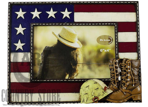 USA Flag and Military Photo Picture Frame with Boots & Helmet 4 x 6 Glass Cover