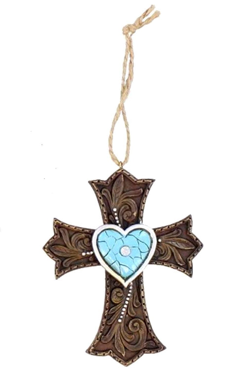 Western Turquoise Heart Faux Leather Cross