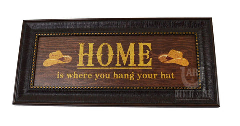 "Western ""HOME Is Where You Hang Your Hat"" Wall Hanging Art"