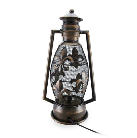Metal Fleur De Lis Lantern Lamp - Electric