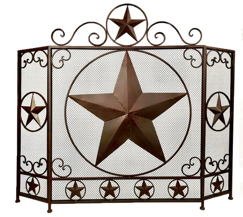 Elegant Lone Star Metal Fireplace Screen
