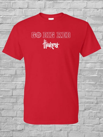 "Nebraska Volleyball Men's Tee ""Go Dig Red"""