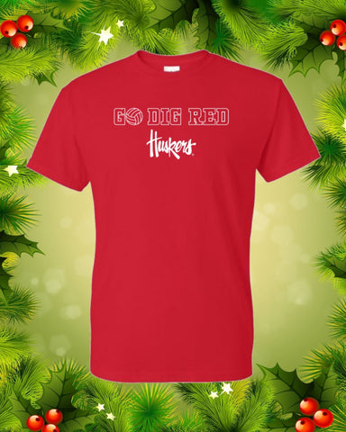 "Nebraska Volleyball Tee ""Go Dig Red"""