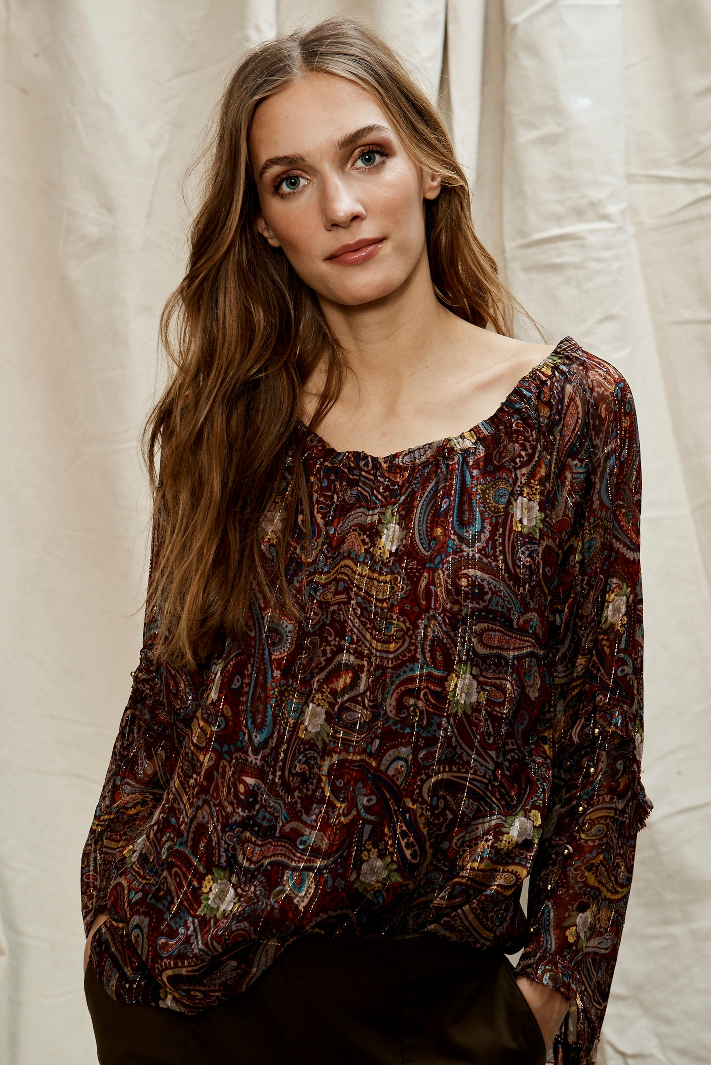 Moroccan Paisley Elastic Neck Blouse