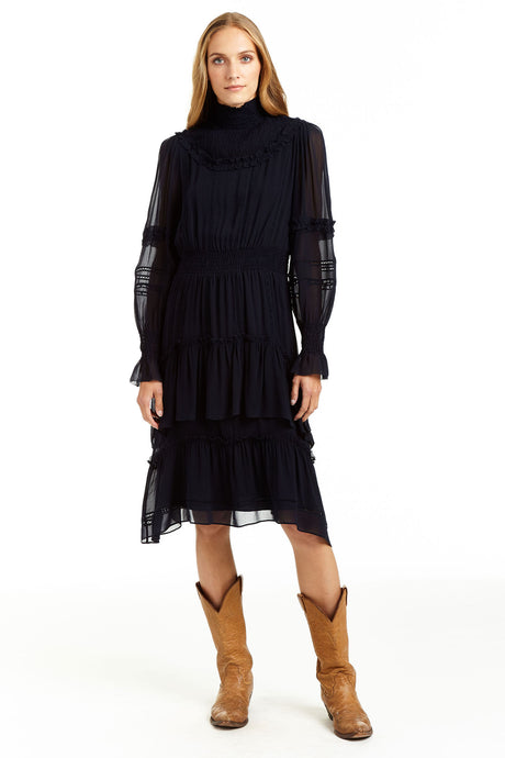 Olivia Smocked Ruffle Midi Dress