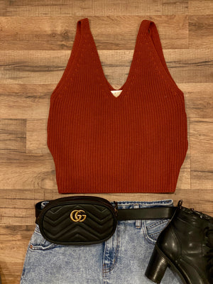 Rust V-Neck sweater top
