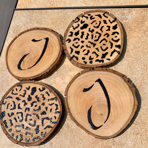 Custom wood burned and sealed coaster set with leopard and initials