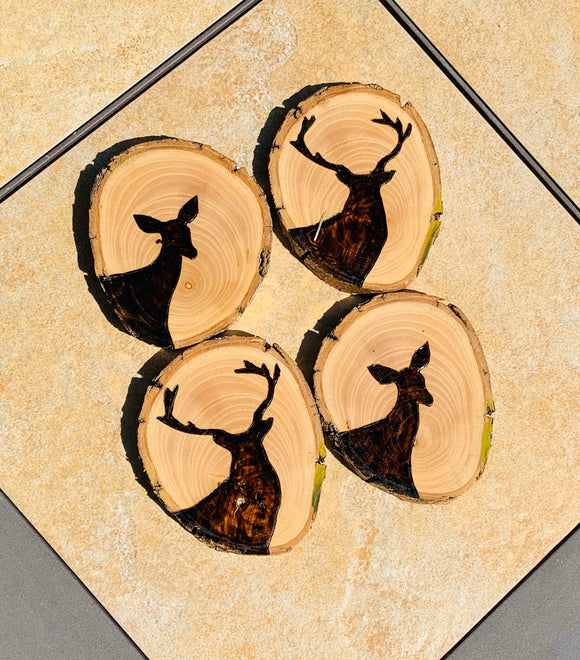 His and Hers Whitetail Deer coaster set-Wholesale
