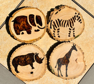 Safari themed custom wood burned and sealed coaster set