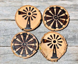 Windmill custom wood burned and sealed coaster set