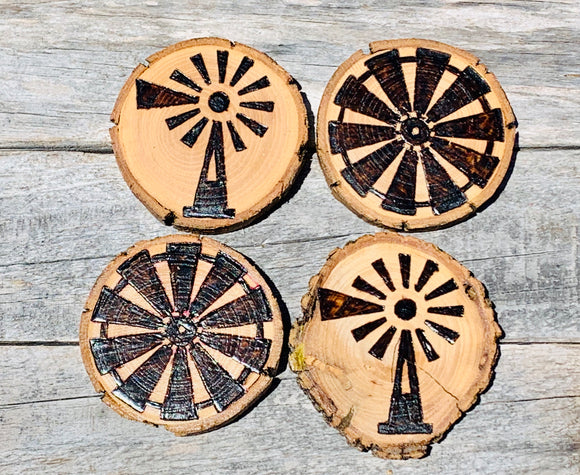 Windmill custom wood burned and sealed coaster set(wholesale)