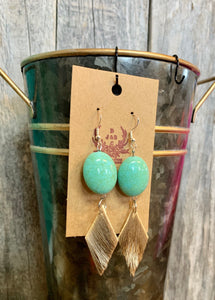 Turquoise and small diamond drop Axis Hide Earrings