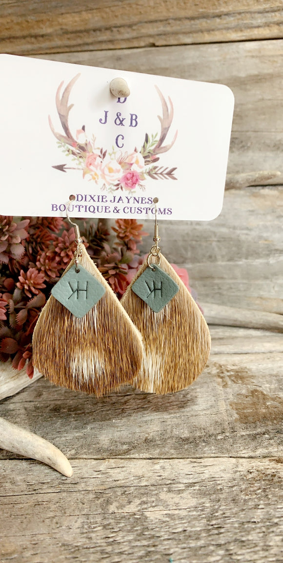 Custom Branded charm on Axis Hide Earrings-Wholesale
