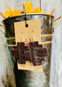 Aztec Caiman Crocodile earrings(Chocolate brown)(wholesale)