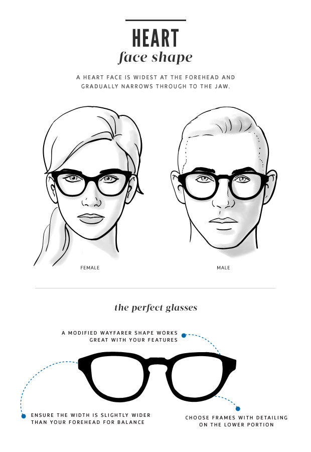 Heart Face Shape fitting glasses guide