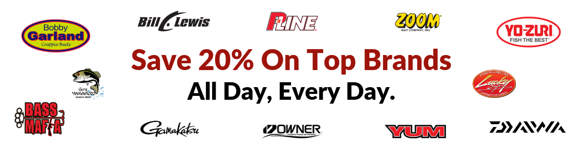 Discount Tackle   20% Off On Top Brands   Every  Single  Day